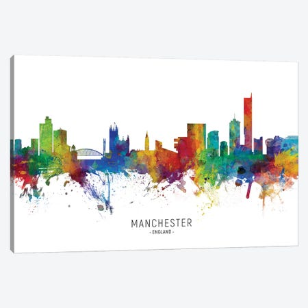 Manchester England Skyline Canvas Print #MTO2077} by Michael Tompsett Canvas Wall Art