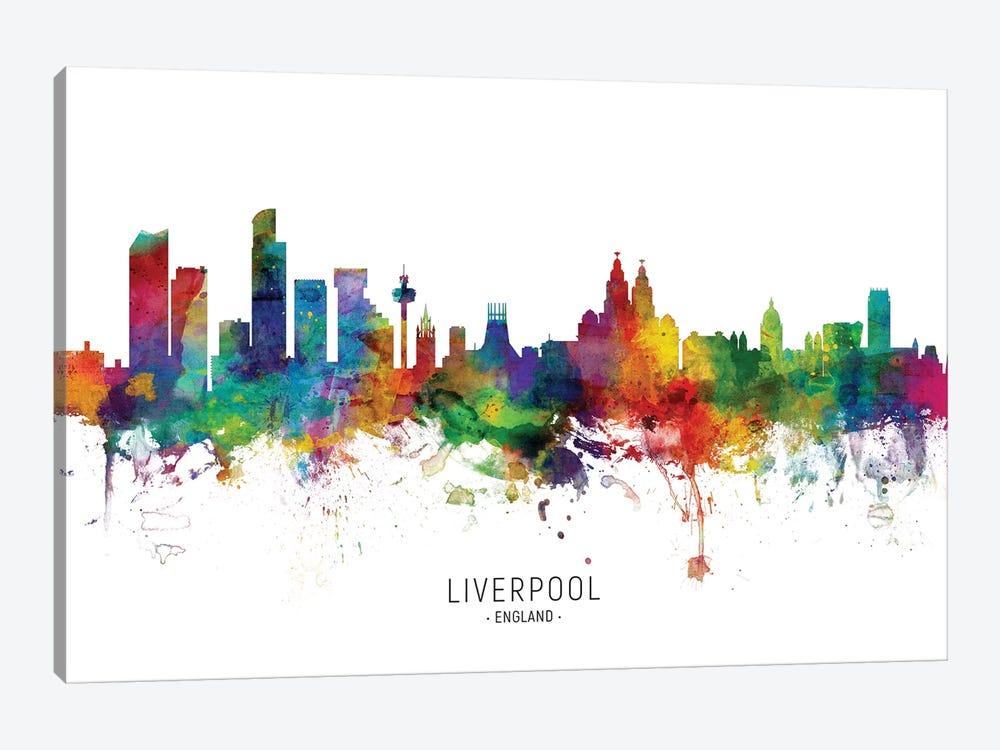 Liverpool England Skyline by Michael Tompsett 1-piece Canvas Artwork