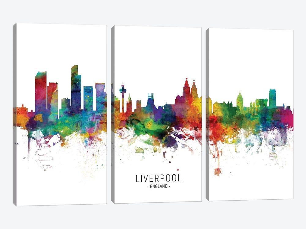 Liverpool England Skyline by Michael Tompsett 3-piece Canvas Wall Art