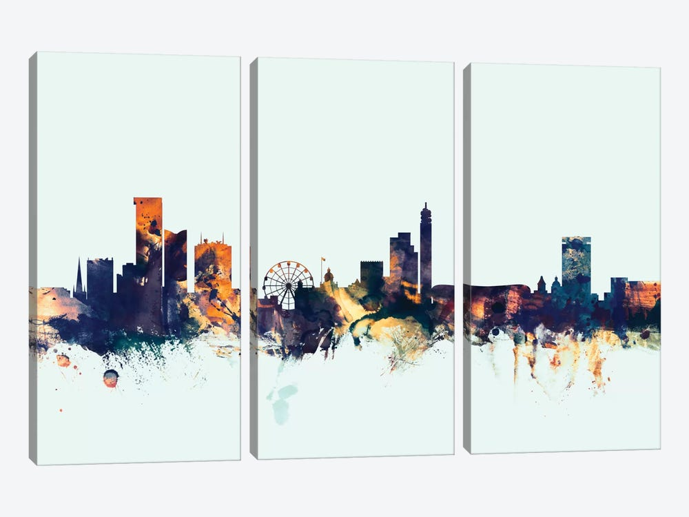 Birmingham England, United Kingdom On Blue by Michael Tompsett 3-piece Canvas Print