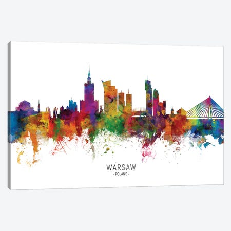 Warsaw Poland Skyline Canvas Print #MTO2082} by Michael Tompsett Canvas Wall Art