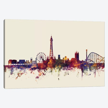 Blackpool, England, United Kingdom On Beige Canvas Print #MTO208} by Michael Tompsett Art Print