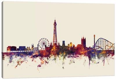 Skyline Series: Blackpool, England, United Kingdom On Beige Canvas Print #MTO208