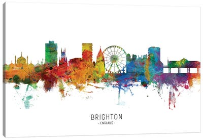 Brighton England Skyline Canvas Art Print