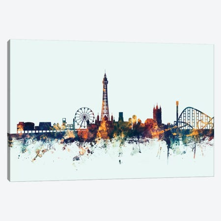 Blackpool, England, United Kingdom On Blue Canvas Print #MTO209} by Michael Tompsett Art Print