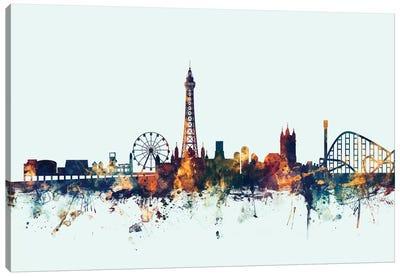 Skyline Series: Blackpool, England, United Kingdom On Blue Canvas Print #MTO209