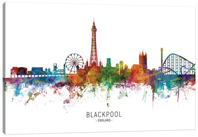 Blackpool England Skyline Canvas Art Print