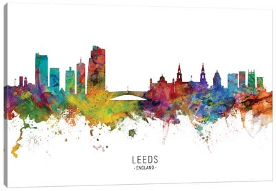Leeds England Skyline Named Canvas Art Print