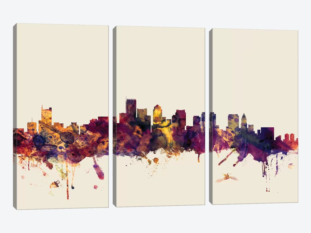 Skyline Series: Boston, Massachusetts, USA I On Beige by Michael Tompsett 3-piece Art Print