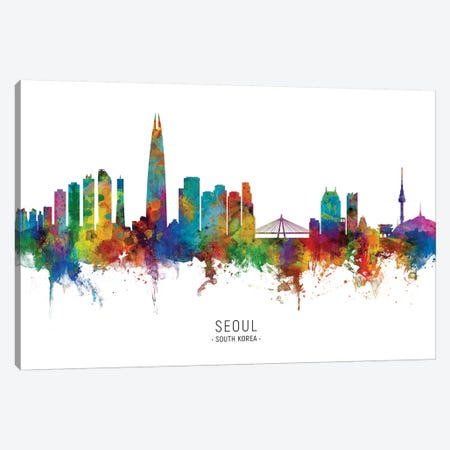 Seoul South Korea Skyline Canvas Print #MTO2110} by Michael Tompsett Canvas Artwork