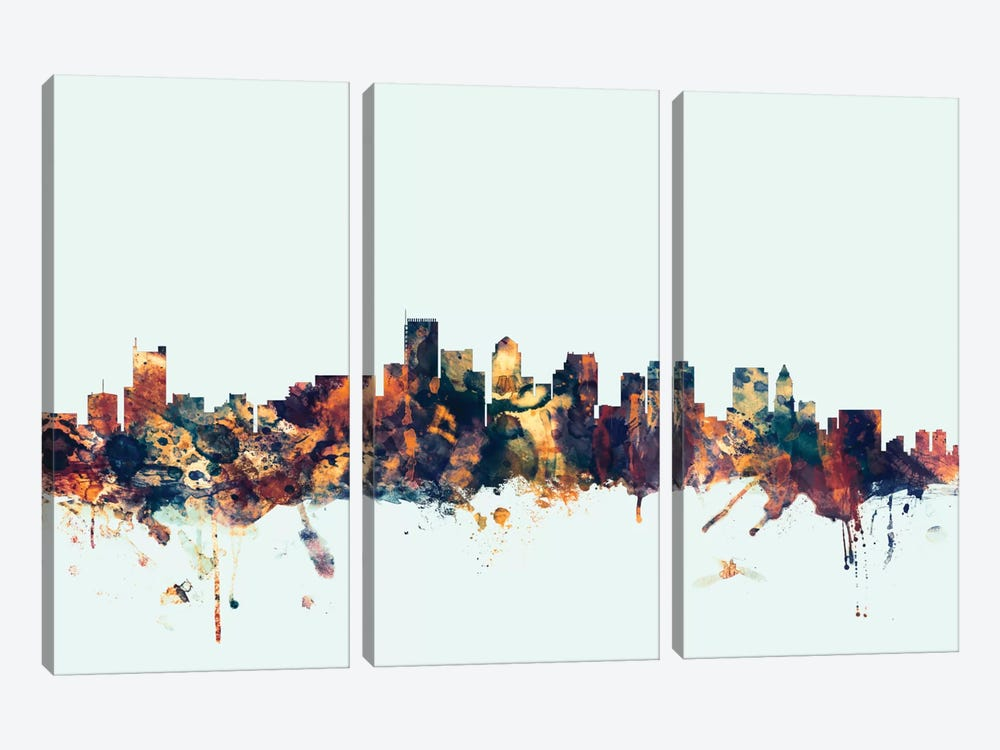 Boston, Massachusetts, USA I On Blue by Michael Tompsett 3-piece Canvas Wall Art