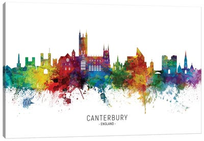 Canterbury England Skyline Canvas Art Print