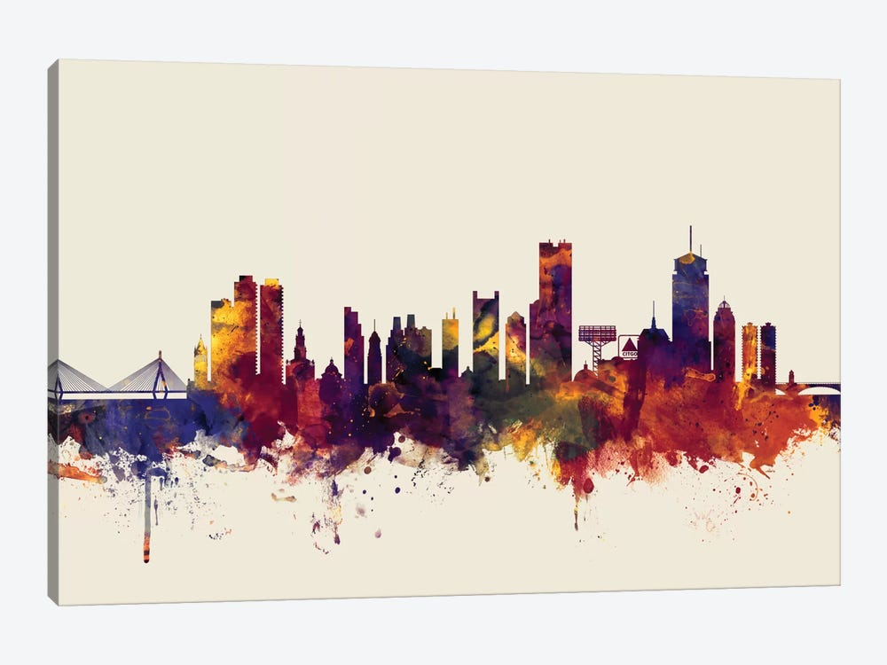 Skyline Series: Boston, Massachusetts, USA II On Beige by Michael Tompsett 1-piece Canvas Art Print