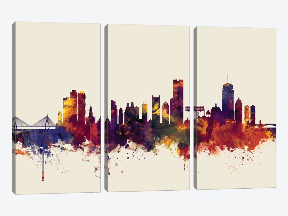 Skyline Series: Boston, Massachusetts, USA II On Beige by Michael Tompsett 3-piece Art Print