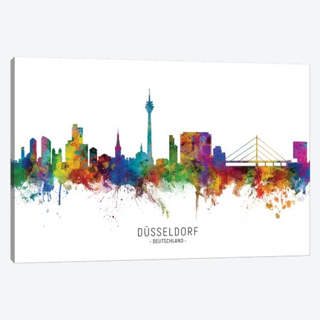 Dusseldorf Deutschland Skyline Canvas Print #MTO2136} by Michael Tompsett Art Print
