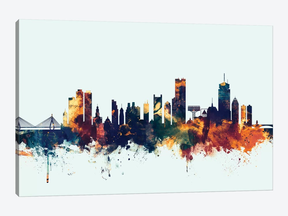 Boston, Massachusetts, USA II On Blue by Michael Tompsett 1-piece Canvas Art