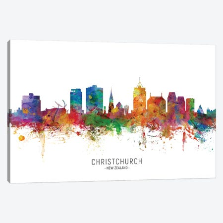 Christchurch New Zealand Skyline Canvas Print #MTO2149} by Michael Tompsett Canvas Art Print