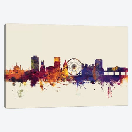 Brighton England, United Kingdom On Beige Canvas Print #MTO214} by Michael Tompsett Art Print