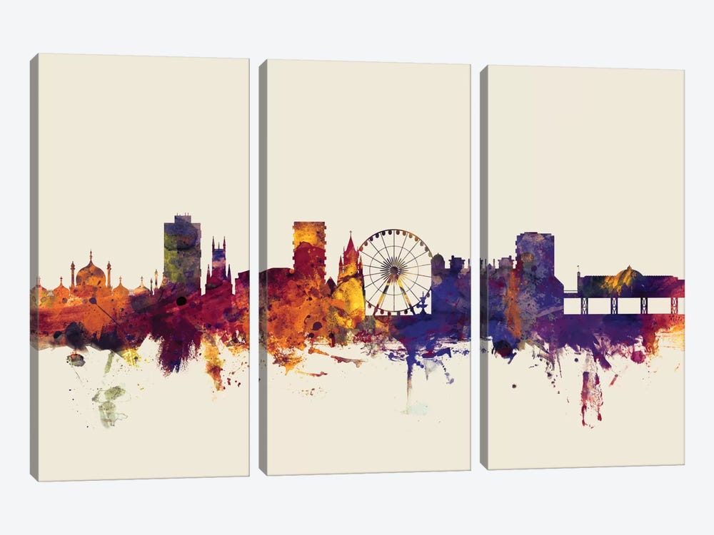 Brighton England, United Kingdom On Beige by Michael Tompsett 3-piece Canvas Print