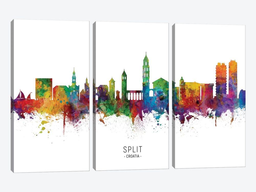 Split Croatia Skyline by Michael Tompsett 3-piece Canvas Artwork