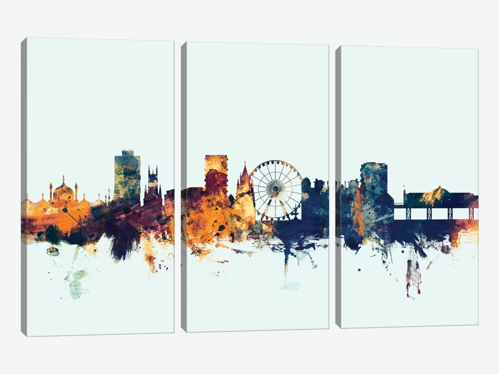 Brighton England, United Kingdom On Blue 3-piece Canvas Art