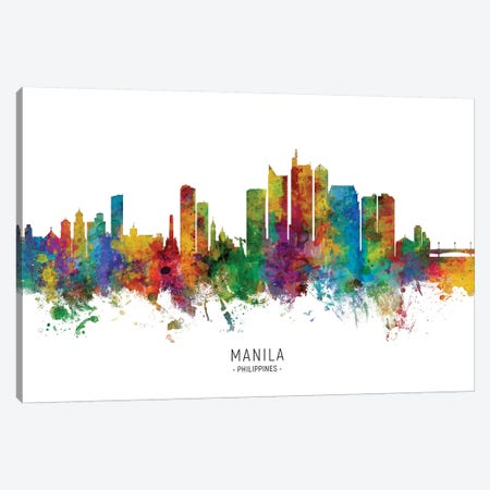 Manila Philippines Skyline Canvas Print #MTO2167} by Michael Tompsett Canvas Wall Art