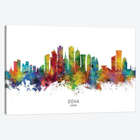Doha Qatar Skyline Canvas Print #MTO2168} by Michael Tompsett Art Print