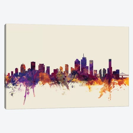 Brisbane, Australia On Beige Canvas Print #MTO216} by Michael Tompsett Canvas Art Print