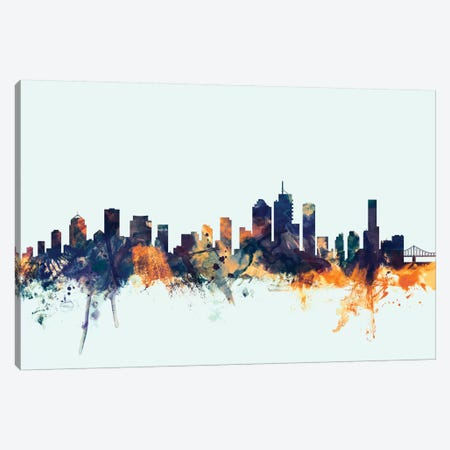 Brisbane, Australia On Blue Canvas Print #MTO217} by Michael Tompsett Canvas Print