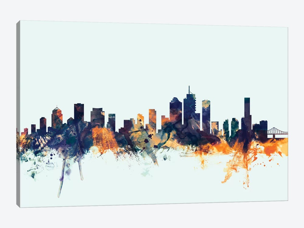 Brisbane, Australia On Blue by Michael Tompsett 1-piece Canvas Art