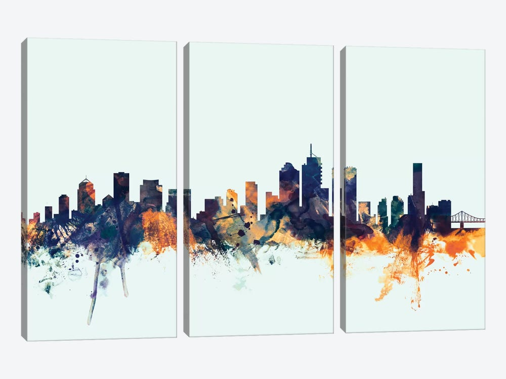 Brisbane, Australia On Blue by Michael Tompsett 3-piece Canvas Artwork