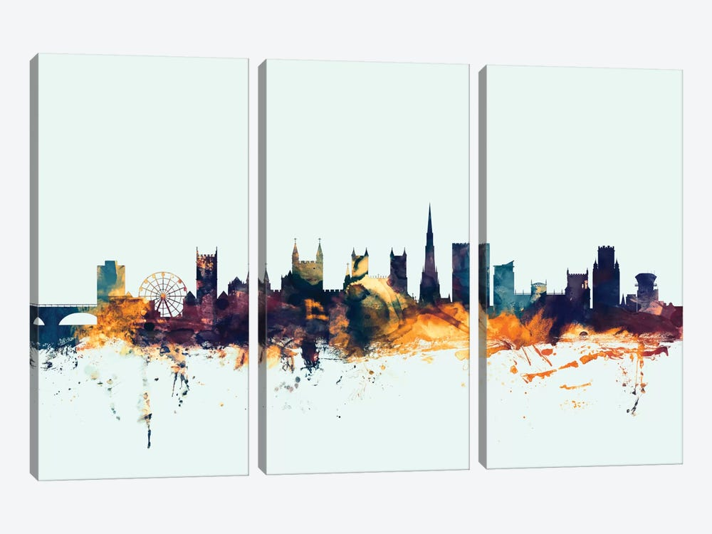 Bristol, England, United Kingdom On Blue by Michael Tompsett 3-piece Canvas Art