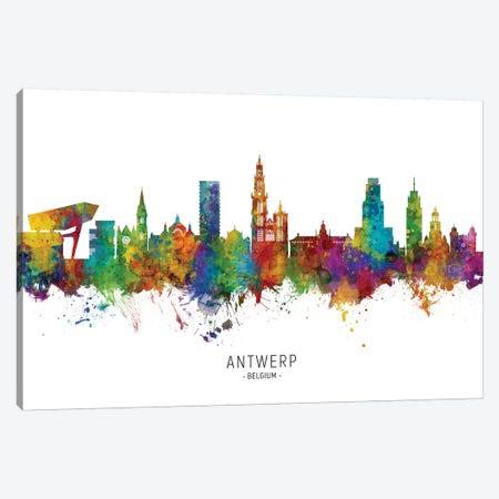 Antwerp Belgium Skyline 3-Piece Canvas #MTO2201} by Michael Tompsett Canvas Artwork