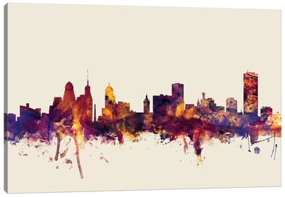 Skyline Series: Buffalo, New York, USA On Beige Canvas Print #MTO220