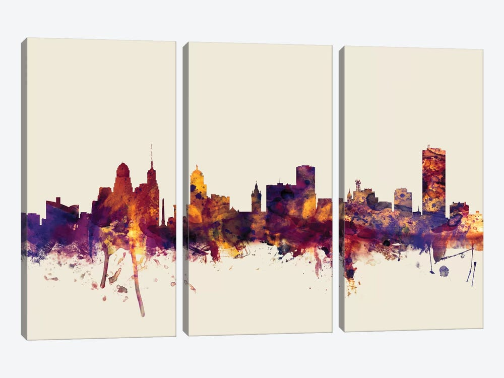 Skyline Series: Buffalo, New York, USA On Beige by Michael Tompsett 3-piece Canvas Wall Art