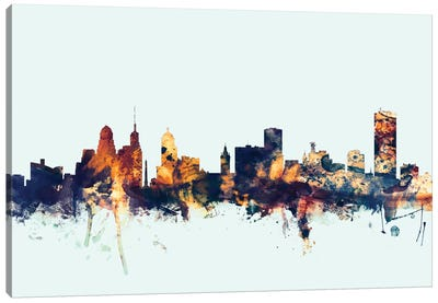 Skyline Series: Buffalo, New York, USA On Blue Canvas Print #MTO221