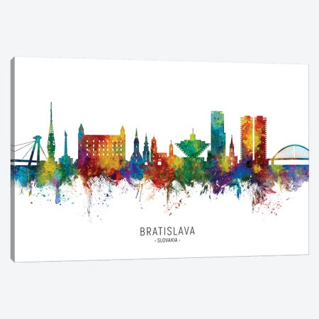 Bratislava Slovakia Skyline Canvas Print #MTO2222} by Michael Tompsett Canvas Wall Art