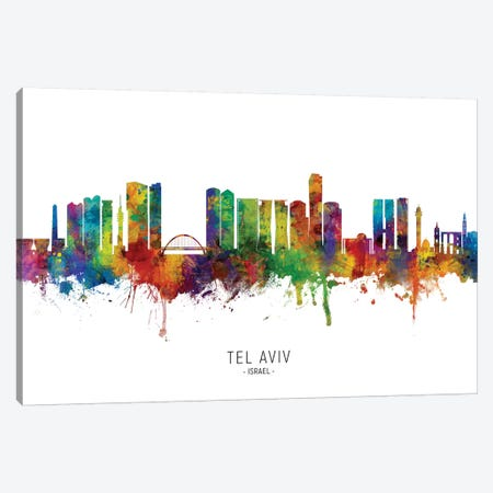 Tel Aviv Israel Skyline Canvas Print #MTO2223} by Michael Tompsett Canvas Wall Art