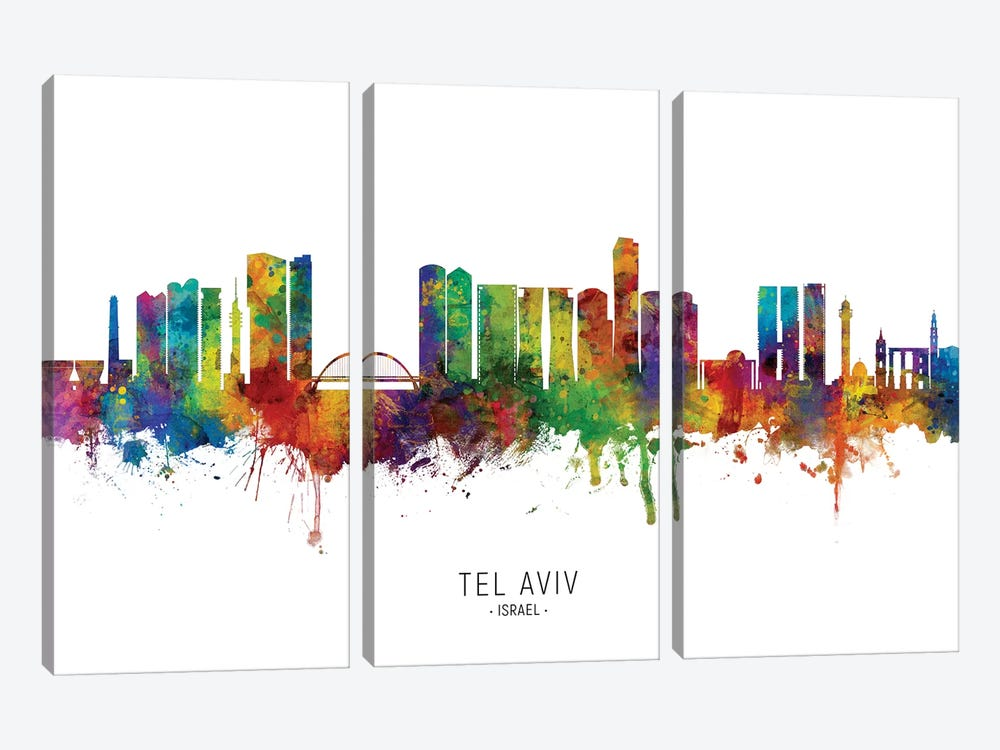 Tel Aviv Israel Skyline by Michael Tompsett 3-piece Canvas Art Print