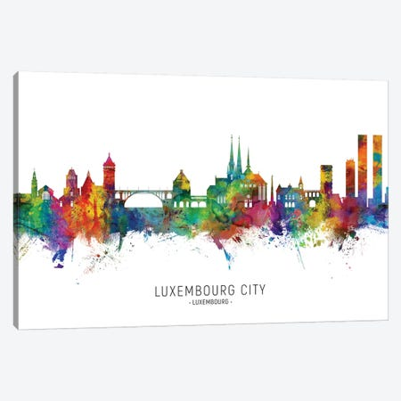 Luxembourg City Skyline Canvas Print #MTO2228} by Michael Tompsett Canvas Wall Art