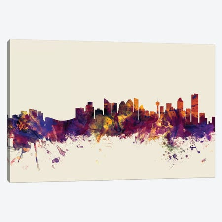 Calgary, Canada On Beige Canvas Print #MTO222} by Michael Tompsett Art Print