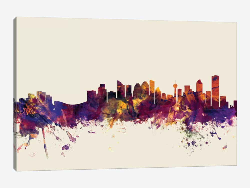 Calgary, Canada On Beige by Michael Tompsett 1-piece Canvas Artwork