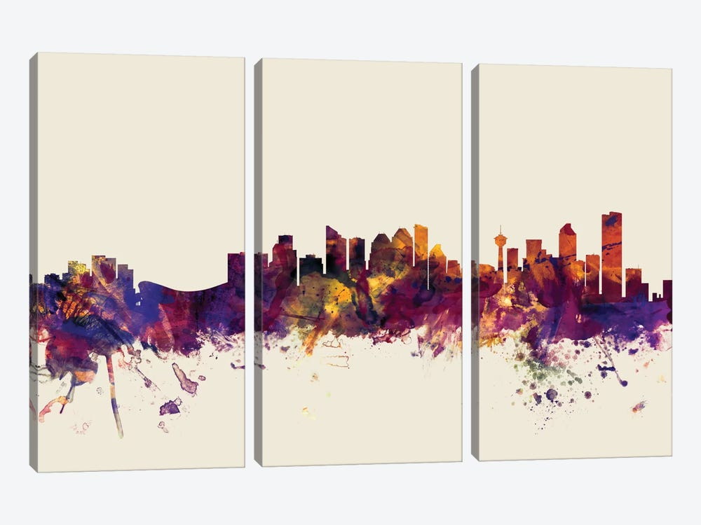 Calgary, Canada On Beige by Michael Tompsett 3-piece Canvas Wall Art