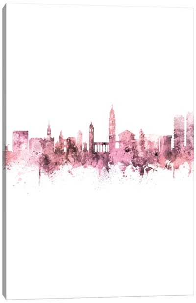Split Croatia Skyline Rose Pink Portrait Canvas Art Print