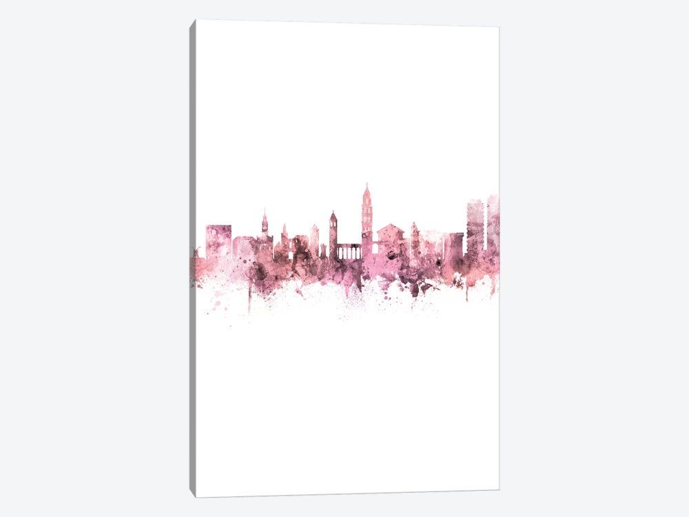 Split Croatia Skyline Rose Pink Portrait by Michael Tompsett 1-piece Art Print