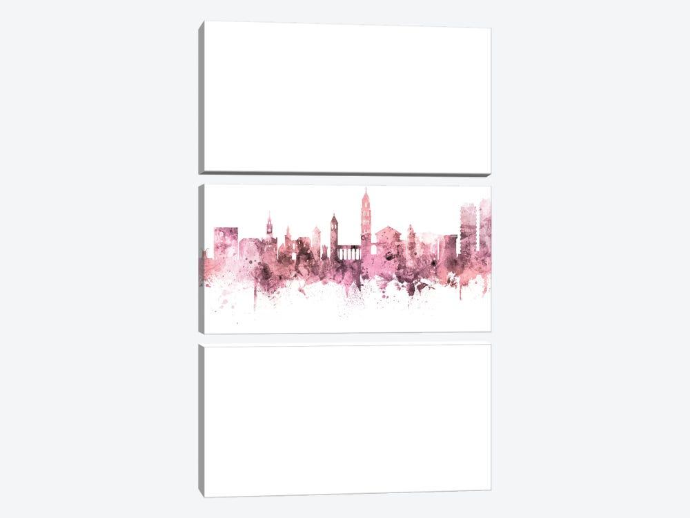 Split Croatia Skyline Rose Pink Portrait by Michael Tompsett 3-piece Art Print