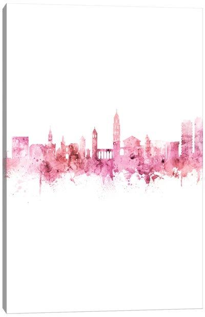 Split Croatia Skyline Pink Rose Portrait Canvas Art Print