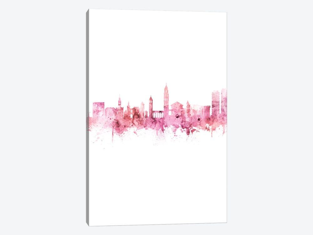Split Croatia Skyline Pink Rose Portrait by Michael Tompsett 1-piece Canvas Artwork