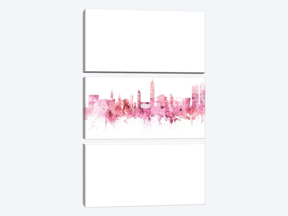 Split Croatia Skyline Pink Rose Portrait by Michael Tompsett 3-piece Canvas Art