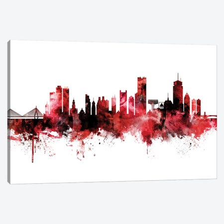 Boston Skyline Red Black Canvas Print #MTO2234} by Michael Tompsett Canvas Art
